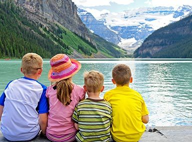 Children at Lake Louise in Banff National Park
