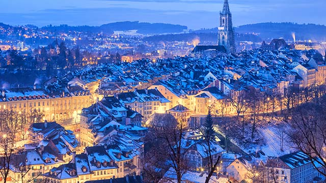 Bern Switzerland snow covered in winter