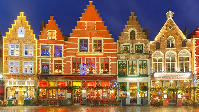 Bruges Belgium Christmas Old Market Square