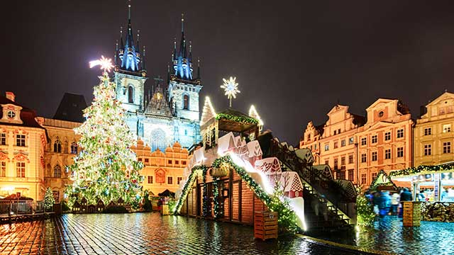 Prague old town square during Christmas