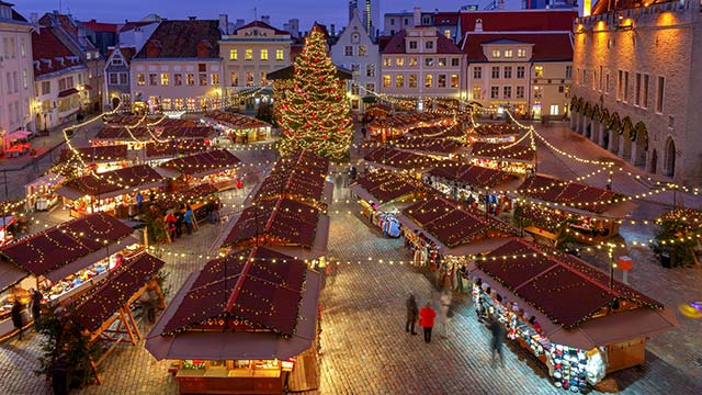 Tallinn Estonia Town Hall Square at Christmas