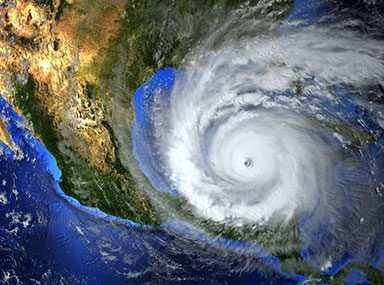 satellite image of hurricane approaching america
